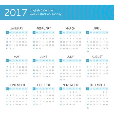 Calendar for 2017 on white background. Week starts from sunday. Illustration