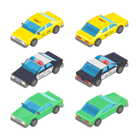 Flat 3d isometric high quality city vehicle icon set. Vector isometrical police cars and taxi cab with front and rear views. Set of Automobile Transport.