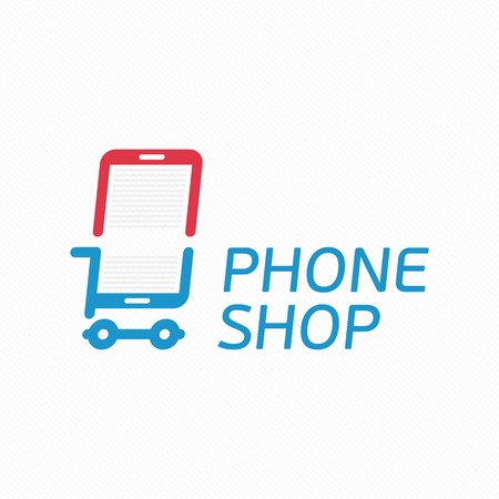 simple store: Vector abstract logo template mobile phone shop. Smart phone store sign concept. Universal On-line store logotype. Application icon concept.