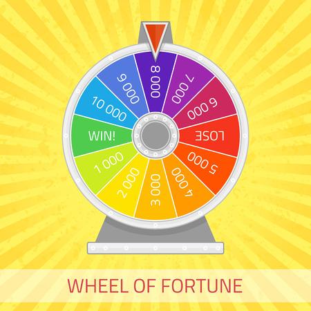 Rad van fortuin illustratie. Kleur geluk wiel template. Winnaar spel, geld en casino concept. Infographic design element in vlakke stijl.