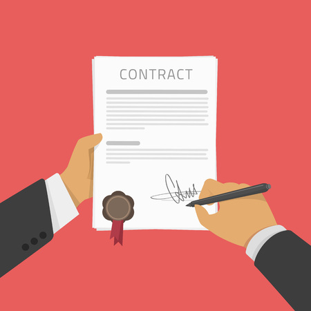 treaty: Vector illustration of Business man hand holding contract agreement, signed treaty paper with pen, documentation flat sign modern design isolated on red background. Hand signing of a treaty concept. Illustration