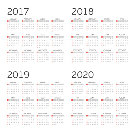 Calendar for years 2017, 2018, 2019 and 2020. Week starts from Sunday. Simple Vector Template