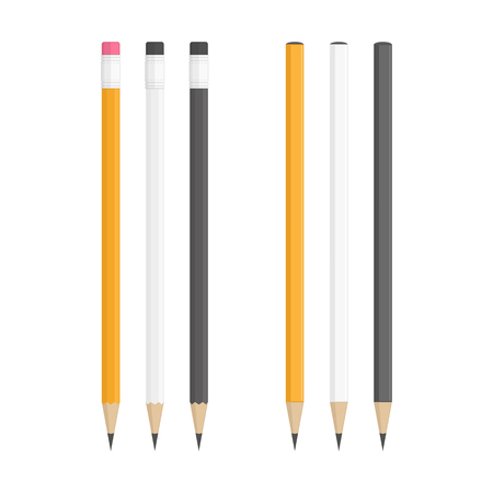 Lead pencils various types on white background. Yellow, white and black wooden pencils in classic style isolated on white background. Corporate Identity And Branding Stationery Templates. Illustration