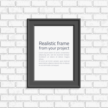 black wall: Black realistic picture frame on white painted brick wall seamless pattern vector background. Modern photo frame and text to your design projects. Layered vector EPS available.