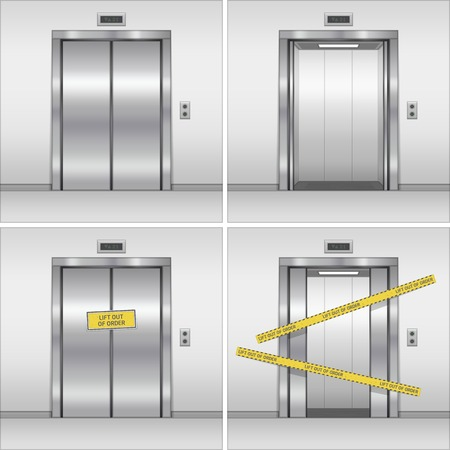 Open, closed and broken chrome metal building elevator doors. Realistic vector illustration. Hall Interior in Gray Colors. Vettoriali