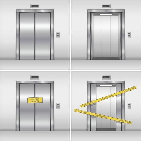 Open, closed and broken chrome metal building elevator doors. Realistic vector illustration. Hall Interior in Gray Colors. Stock Illustratie