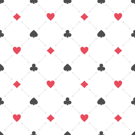 clubs diamonds: Seamless background with suits hearts, diamonds, clubs, spades. Poker casino seamless pattern illustration