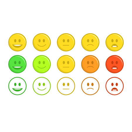 Feedback emoticon concept. Rank, level of satisfaction rating. User experience. Review of consumer smileys isolated on white background image.