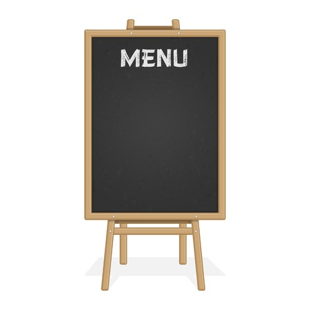 Menu Black Board Isolated on white background. Illustration of wooden shield for restaurant menu.