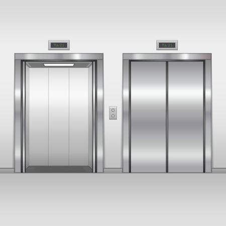 metal doors: Open and closed chrome metal building elevator doors. Realistic vector illustration. Hall Interior in Gray Colors. Illustration