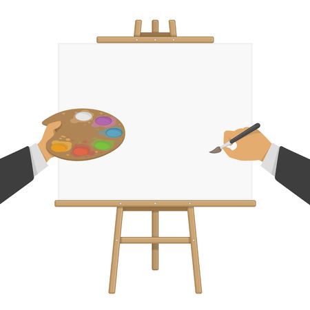 outdoor blank billboard: Hands holding paint and brush on the background of the easel. Wooden easel with a blank canvas. Vector illustration of painting desk and white paper. Concept artist, Illustrator or designer.
