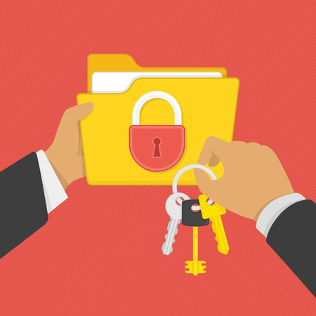 Flat illustration of security center. Yellow folder with lock and keys in the hands of man. Data protection, internet security flat illustration concepts. Stock Illustratie