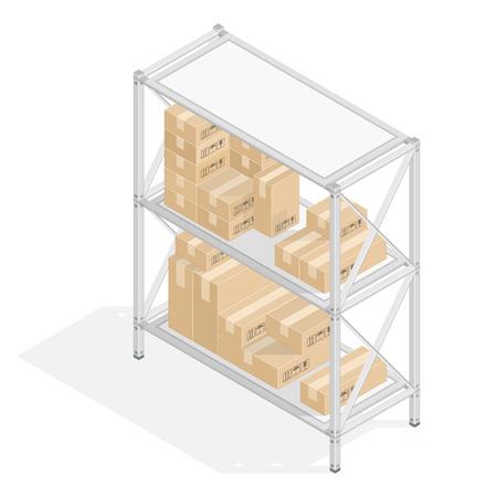 Etagères Métal 3D isométrique avec des boîtes en carton dans le style plat. Concept de stockage de l'entrepôt. L'ensemble des objets isolés sur le fond blanc et montré de différents côtés. Les éléments de conception.