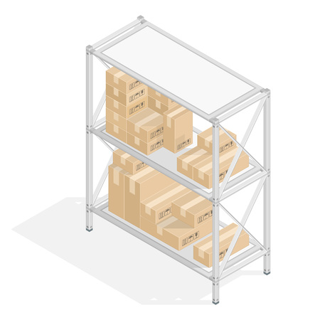 Metal Isometric 3D shelvings with cardboard boxes in flat style. Warehouse storage concept. The set of objects isolated against the white background and shown from different sides. Design elements. 向量圖像