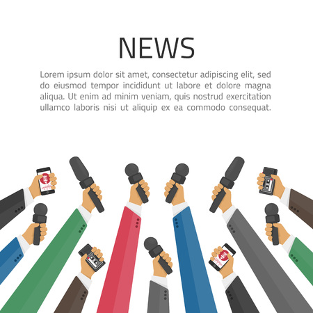 News banner poster vector template. Set of microphone. Concept of Media tv and interview, information for television, broadcasting mass and communication. Live report, live news illustration. Stock Illustratie