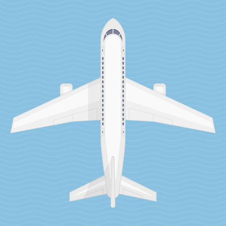 Airplane in the air vector illustration. Aircraft view from above. Plane from top view. Concept of air travel, transportation of goods. Illustration