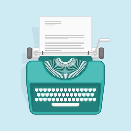 Vector illustration of flat vintage typewriter. Concept of copywriting marketing information, public relations advertising text, social media campaign or blogging. Illustration