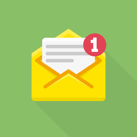 notify: Email notification icon. Vector illustration of letter in yellow cover. Flat modern design element. Concept of newsletter, notify, support, incoming, confirm.