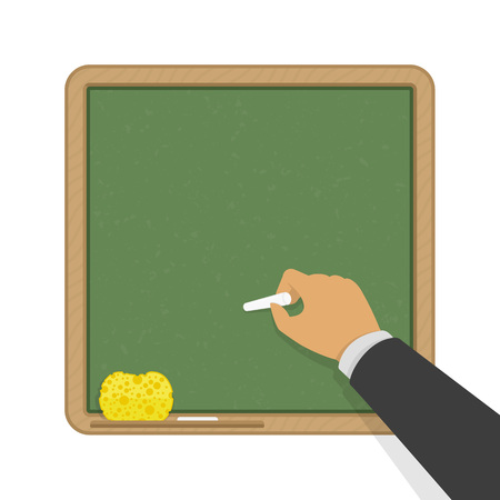 Hand holding white chalk in front of a green blank school board. Blackboard with a hand writing. Education table.