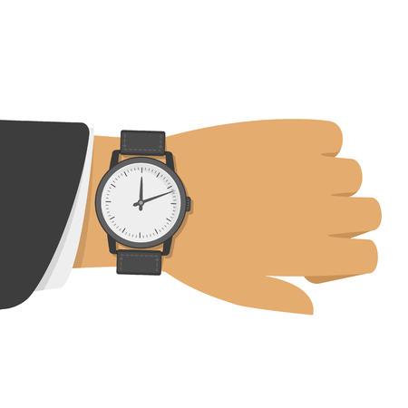 Montre-bracelet sur la main d'un homme d'affaires en costume noir. Illustration vectorielle du temps sur la montre au poignet. L'homme avec horloge classique vérifie l'heure. Main avec l'horloge moderne isolée sur fond.