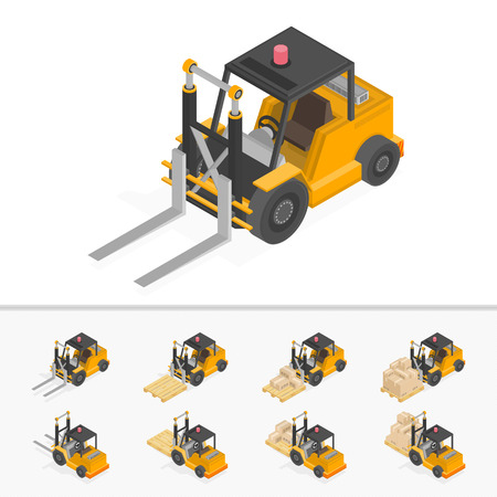 Isometric forklift loading pallets with boxes. Illustration isometric style, Warehouse work. Illustration