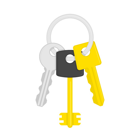 key ring: Keys on key ring isolated on white background. Illustration of bunch of golden and silver keys on keyring in flat style. Key icon cartoon design element. Security concept. Illustration