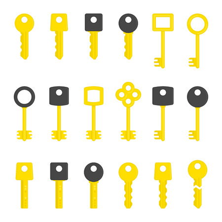latchkey: Key icons set. Modern and Antique Keys.
