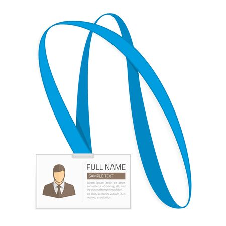 Id card for businessman. Vector illustration in Flat style. Lanyard, name tag holder end badge templates with photo. Illustration