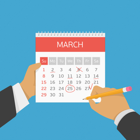important event: Hand with pencil mark calendar. Week started on Sunday. Important event. Flat style concept for web banners, web sites, printed materials, infographics. Modern vector illustration. Organizer.