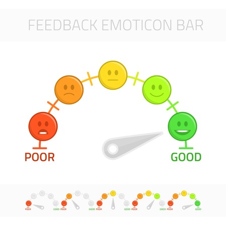 Feedback emoticon gauge. Rank or level of satisfaction rating. Review in form of emotions, smileys, emoji. User experience. Customer Feedback Manometer vector set. 일러스트