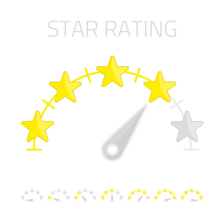 Stars rating. Vector customer review concepts isolated on a white background. Vector navigation, average rating template bar, simple flat design.
