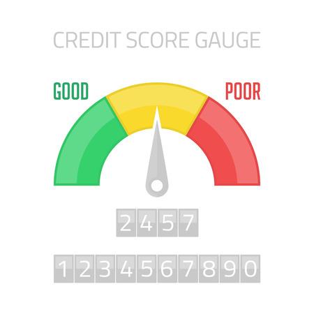 admeasure: Credit Score Gauge. Flat colorful financial history assessment of credit score meter. Information finance rate. Manometer vector illustration. Illustration