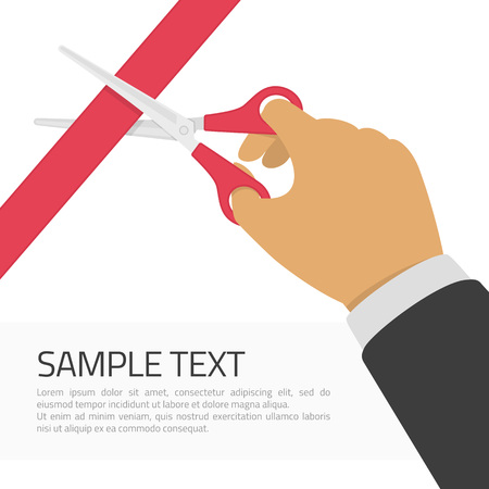 inauguration: Grand opening concept. Hands cutting red ribbon with scissors and place for sample text. Opening ceremony or celebration and event. Vector illustration in modern flat style.