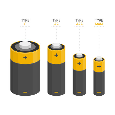 plus size: Vector icons set of different kinds of sizes of batteries C, AA, AAA, AAAA isolated on white background. Illustration in modern flat style. Illustration