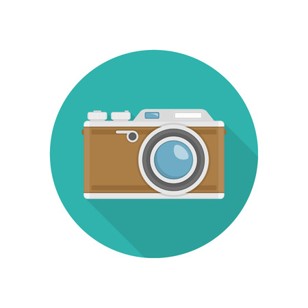 Retro camera or vintage photo camera icon in a flat design.