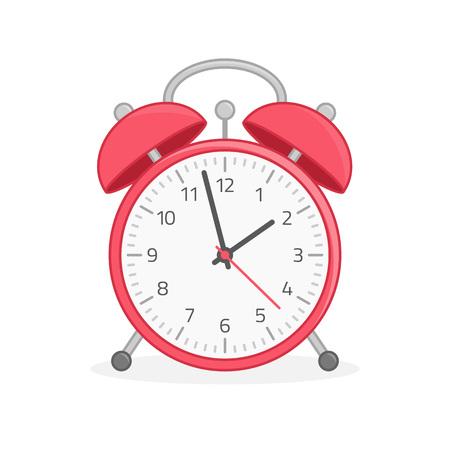Vector illustration of red alarm clock isolated on white background. Modern flat design style. Alarm Clock icon. Ilustrace