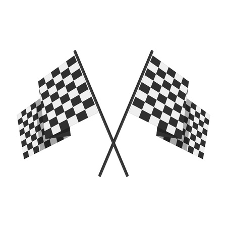 Two crossed checkered Flags or racing flags. Vector illustration. 矢量图像