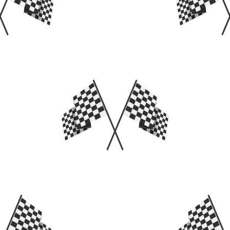 Racing flag seamless pattern background. Two crossed checkered Flags template.