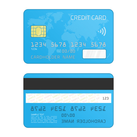 Realistic vector credit card with chip and global map isolated on white background. Two sides. Vector illustration for your business design.