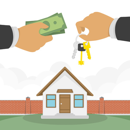 lessee: Buying a house concept. Real estate and Home for Sale vector illustration in flat design. The hand of a realtor holds out a key to the house, and the buyer or lessee gives money.