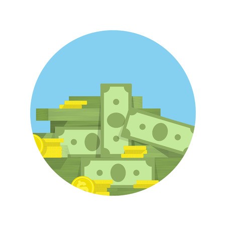 batch of dollars: Big pile of money vector icon, heap of cash. American dollars, pack, parcel, batch, flock, package modern design isolated on white background in flat style.