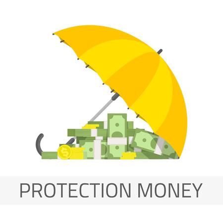 financial savings: Money under umbrella vector illustration. Concept of money protection, financial savings insurance. Yellow umbrella, golden coins and big pile of cash.