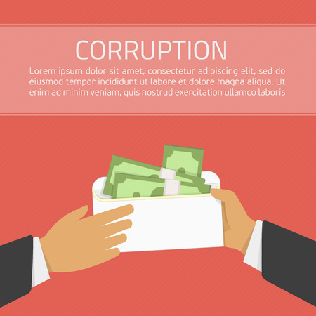 venal: Businessman giving a bribe. Bribery concept. Money in an envelope in hands of businessmen during corruption deal. Illustration in flat style on red background. Anti Corruption concept. Illustration