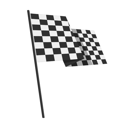 Checkered Finish Flag. Vector race flag isolated on a White Background. Rippled black and white crossed chequered banner.