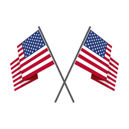 Deux croisés vecteur de drapeau américain.