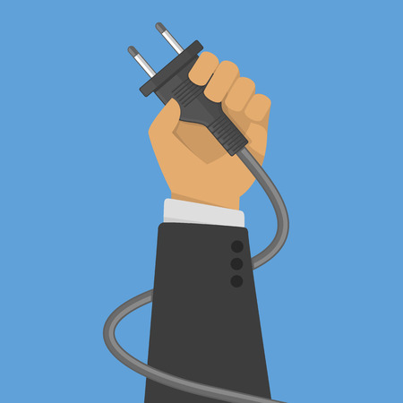 unplugging: Electric plug in hand. Illustration