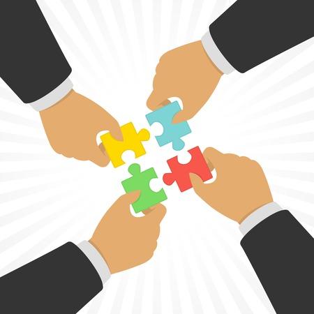 Les mains mettre des pièces de puzzle. Vecteurs
