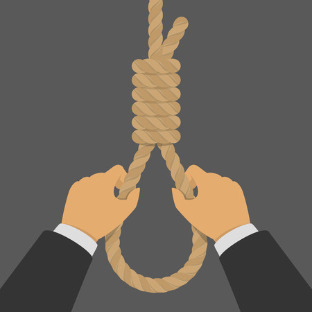 Hands hold the hanging loop.