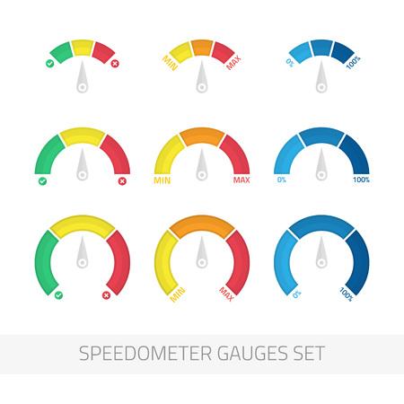 Speedometer gauges set.