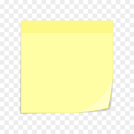 Yellow sticky note isolated on transparent. Stock Illustratie